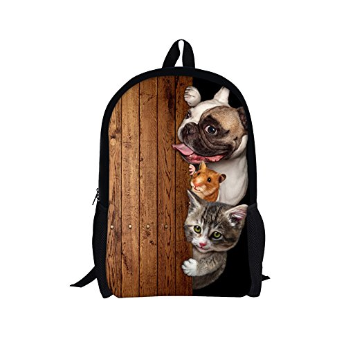 TOREEP Creative Cat Dog Printed Multifunctional Men Women Casual Backpack(Big) (Beaded Glamour Clutch)
