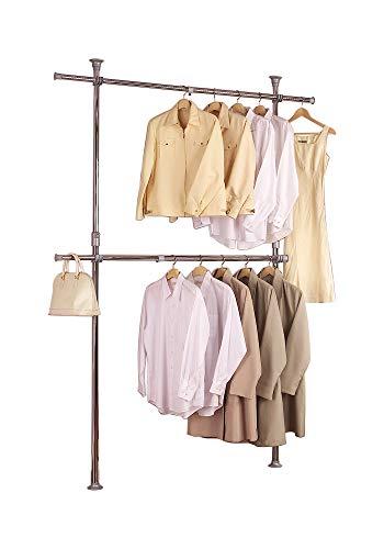 PRINCE HANGER, Silver Crome Adjustable 2 Tier Hanger, Chrome, Steel, Heavy Duty, PHUS-0022