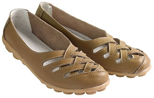 Fangsto Women's Leather Loafers Flats Sandals Slip Ons Khaki zQlnuyomYJ