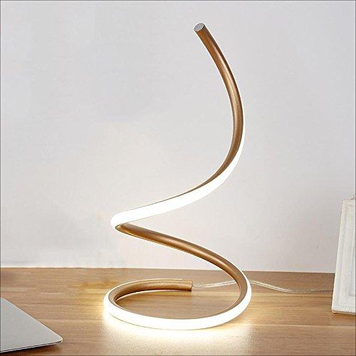 Hines Modern Spiral LED Table Lamp Desk Light Bedroom Bedside Lamp Work Study Eye Light Minimalist Space Saving Design 40W Warm Light Smart Acrylic Material Perfect for Bedroom Living Room
