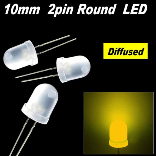 50pcs x Yellow 10mm Round Diffused LED Light 2pin yellow 10mm Diffused LED