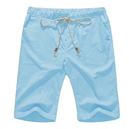 Janmid Men's Linen Casual Classic Fit Short (M, Sky Blue)