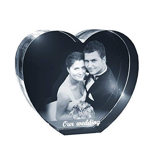 (Personalized Custom 2D/3D Photo Etched Engraving Crystal Heart)