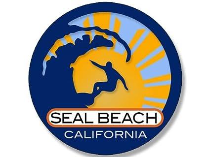 Amazon com: American Vinyl Round Surfer On Wave Seal Beach