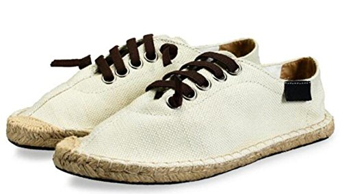 Idifu Mens Traspirante Flat Lace Up Canvas Appartamenti Espadrillas Sneakers Beige