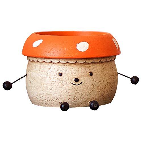 Mushroom Flower Pots,Doll Shaped Resin Garden Pots,Cute Green Plants Flower Pot,Lovely Pen Container,Modern Decorative Planter Pot for Outdoor or Indoor Garden,Flower/Plant/Cactus/Bonsai-Orange