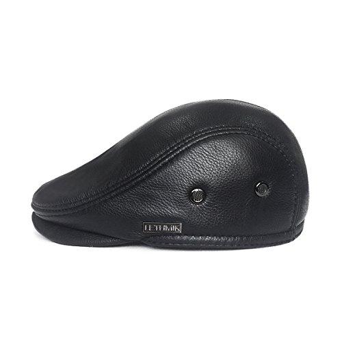 46538c7d446c8 LETHMIK Flat Cap Cabby Hat Genuine Leather Vintage Newsboy Cap Ivy Driving  Cap L-Black