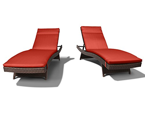 Ulax Furniture 2 Pack Adjustable Outdoor Patio Rattan Wicker Chaise Lounge Chair Set with Cushion Pad,Terracotta by Ulax furniture