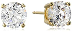 Amazon Essentials Yellow Gold Plated Sterling Silver Round Cut Cubic Zirconia Stud Earrings (5mm)