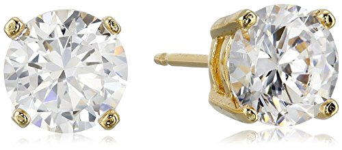Amazon Essentials Yellow Gold Plated Sterling Silver Round Cut Cubic Zirconia Stud Earrings (5mm) ()
