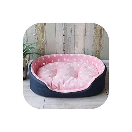 (Pet Kennel House Warm Large Dog Bed Cat Cushion Mat Sofa for Big Dogs Cama para Cachorro Puppy Teddy Sofa S M L XL Size,Pink dots,89cmX73cmX22m)