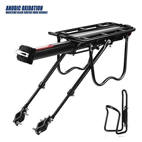 GreatRich Rear Bike Rack Bicycle Cargo Rack, Frame-Mounted for Heavier Top & Side Loads