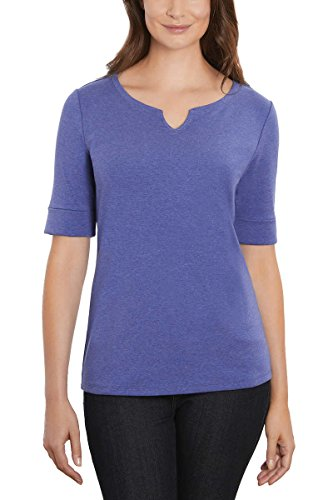 ELLEN TRACY Women's Pima Cotton/Lycra V-Neck Cuff Sleeves T-Shirt (Small, Dazzling Blue ()