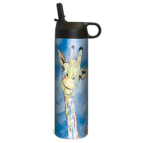 (Tree-Free Greetings SP68603 Sportiva Stainless Steel Tumbler Double-Walled and Vacuum Insulated Cup with Straw, 17 Ounce, Blue Giraffe Pair)