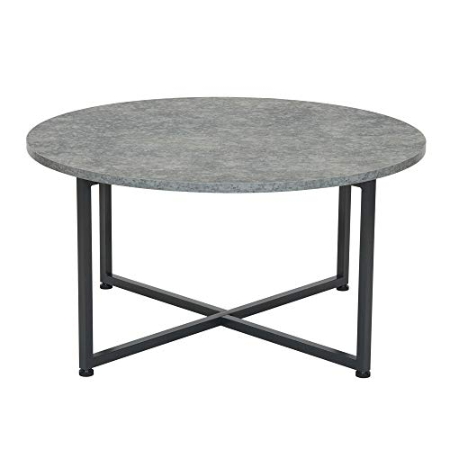 Household Essentials Round Gray Coffee Table, Grey Slate (Round Slate Top Coffee Table)