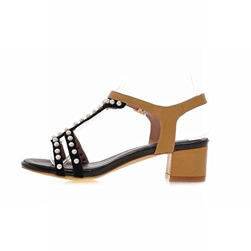 Carolbar Womens Buckle T-Strap Beaded Fashion Retro Chunky Mid Heel Sandals Apricot naj5TX