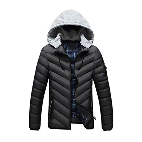 Boy Thickened Down Clásico Hat Jacket Men's Fashion Casual Warm Jacket Winter Schwarz Coat Plus Detachable fnOxwzA