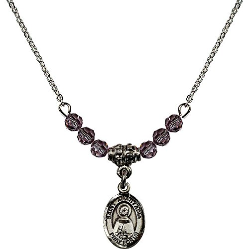 Anastasia 4 Light Pendant (18-Inch Rhodium Plated Necklace with 4mm Light Purple February Birth Month Stone Beads and Saint Anastasia Charm)