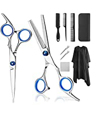 Professional Hair Cutting Scissors, YBLNTEK 9 PCS Barber Thinning Scissors Hairdressing Shears Stainless Steel Hair Cutting Shears Set with Cape Clips Comb for Barber Salon and Home