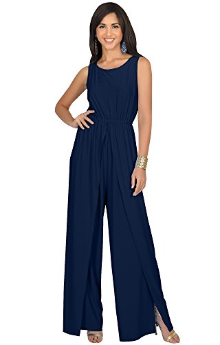 KOH KOH Women Sleeveless Cocktail Wide Leg Casual Cute Long Pants One Piece Jumpsuit Jumpsuits Pant Suit Suits Romper Rompers Playsuit Playsuits, Navy Blue L 12-14 (2) by KOH KOH