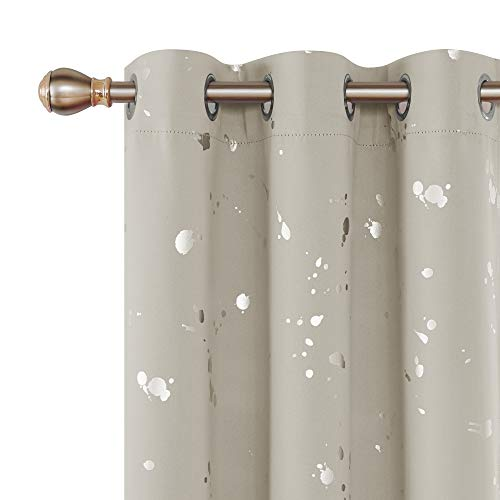 Deconovo Decorative Silver Dots Printed Blackout Curtains Grommet Top Thermal Insulated Room Darkening Drapes for Girls Room Cream 38W x 84L 2 Panels (Room Divider Cream)