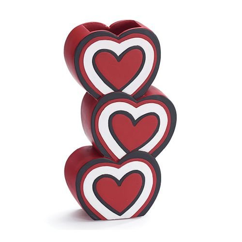 Valentine's Day Red Stacked Heart Vase 2'' Opening