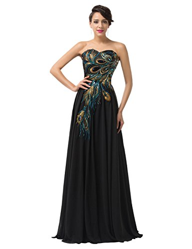 GRACE KARIN Women Chiffon Evening Gowns Sweetheart Bodice Plus Size 20 Black CL675-1 Design Prom Gown Evening Dress