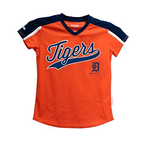 Stitches MLB Detroit Tigers Girls V-Neck Jersey Top, X-Large, Navy