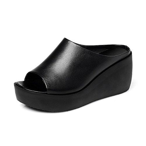 ZPPZZP Ms sandali pantofole a tacco alto spessa pendenza con trascinare 39EU nero