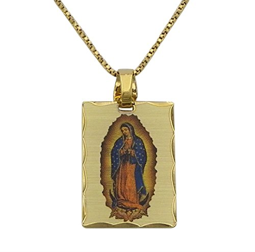 "Rosemarie Collections Women's Our Lady of Guadalupe Catholic Medal Portrait Pendant Necklace (1.25"" Charm Gold)"