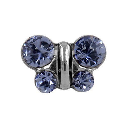 Studex Sensitive Tanzanite Crystal Butterfly Stainless Steel Stud Earrings by Studex