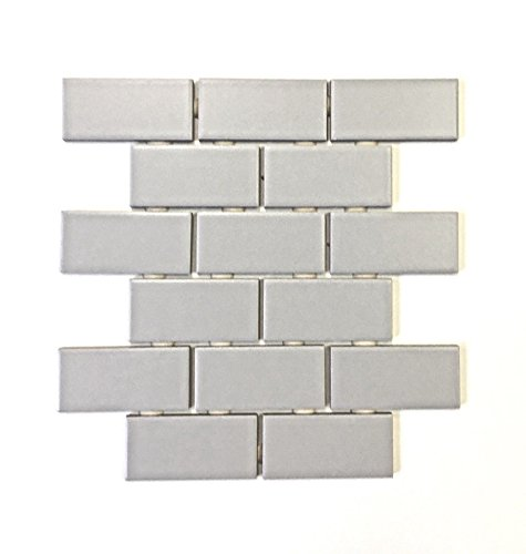 2x4 Gray Matte Subway Ceramic Tile Kitchen Backsplash Bathroom(2inch x 4inch Single Sample) ()