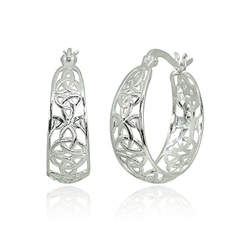 LOVVE Sterling Silver Filigree Celtic Knot Polished Round Click-Top Hoop Earrings