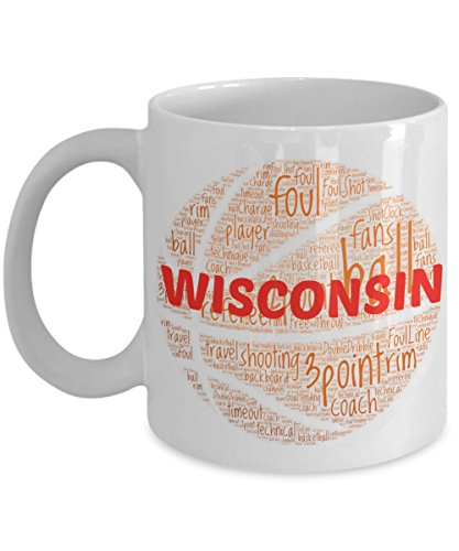 WISCONSIN BADGERS Basketball mug - coffee tea cup for college sports fan - ceramic team gift -- NCAA college basketball -- 11 ounce or 15 ounce white