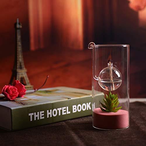 Lamp Table Bliss - Sunkey Glass Oil Lamp Table Decor Hand-Blown High Borosilicate Glass Oil Tea Light Long Lasting Light