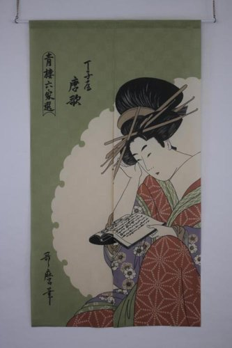 Made in Japan Noren Curtain Tapestry Ukiyoe Karauta