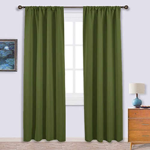 NICETOWN Blackout Curtain for Kitchen Window - Function Thermal Insulated Blackout Panels for Bedroom - One Pair,Olive Green - Rod Pocket Style - 42 by 84 Inches