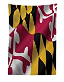 Lunarable American Tapestry, Flag of The US State of Maryland Closeup 3D Style Picture Waving America National, Fabric Wall Hanging Decor for Bedroom Living Room Dorm, 30 W X 45 L inches, Multicolor