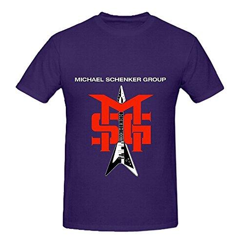 Michael Schenker Group Msg Electronica Men Round Neck Cotton Tee Shirts Purple