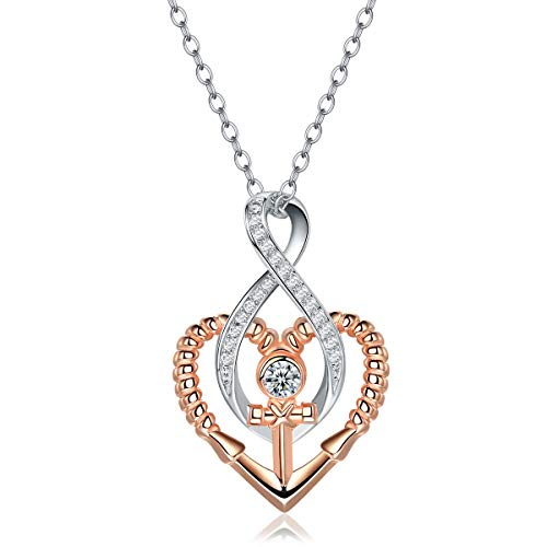 (Trensygo 14k Rose Gold Plated 925 Sterling Silver AAA Cubic Zirconia Cz Two Tone Nautical Anchor Heart Infinity Pendant Necklace for Women,)