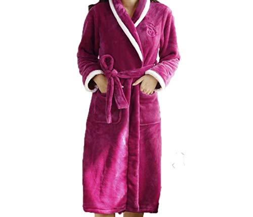 Larga A Casuales Pijama Albornoz Camisón Invierno Domicilio De Servicio Manga E Bata Mujer Pink Otoño Franela Mujeres Engrosamiento OfnwBvqq4