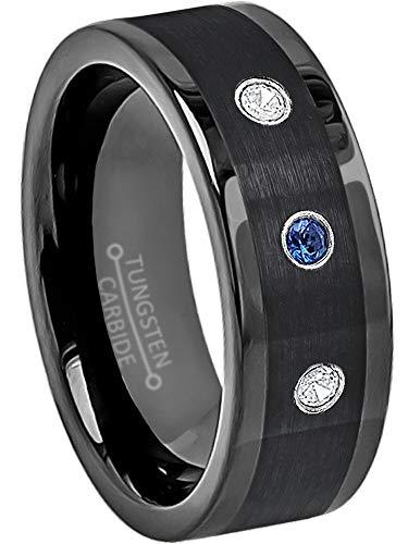 Sapphire Tungsten Diamond - 0.21ctw Blue Sapphire & White Diamond Tungsten Wedding Band - 8mm Pipe Cut Black Tungsten Carbide Wedding Ring - s10