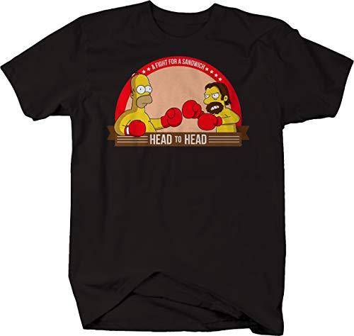 Comic Boxing boxcar bob Head to Head Fight for Sandwich Tshirt for Men 6XL Jet Black