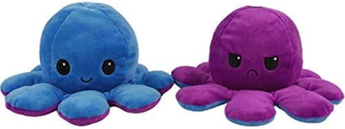 O/³ Peluche Reversible Poulpe-Peluche Octopus Reversible Rose et Bleu Ciel-Doudou Pieuvre-Peluche Humeur