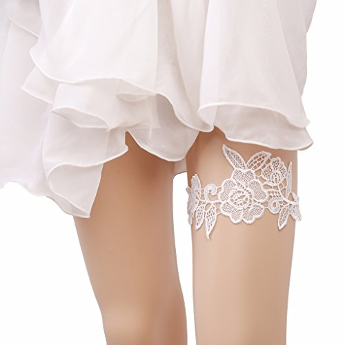 Bueer Wedding Bridal Bridesmaid Lace Garter Set Keepsake Toss Tradition Vintage (4-Pure Ivory Lace Bloom)