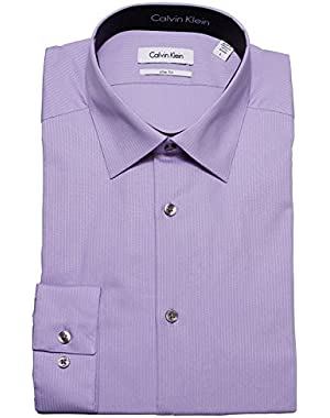 Calvin Klein Tone/Tone Stripe Slim Fit 100% Cotton Solid Dress Shirt - 33T046