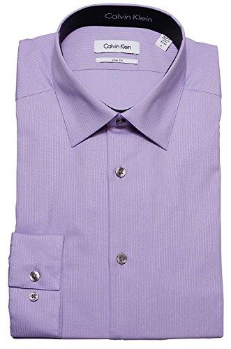 Calvin Klein Tone/Tone Stripe Slim Fit 100% Cotton Solid Dress Shirt - 33T046 (15.5 32-33, (Calvin Klein Purple Stripe)