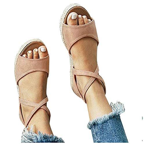 Athlefit Womens Platform Sandals Flat Strap Espadrille Sandals Criss Cross Size 8 Khaki