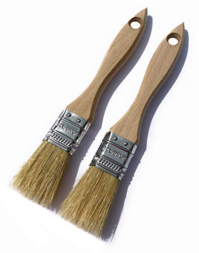 2 Pack - 1 inch European Paint Brushes - Natural Bristle/Wood Handle - for Professional & Amateur Paint Job; for All Latex & Oil Base Paints, Stains, Varnish, Shellac & Wax. (2Pack 1