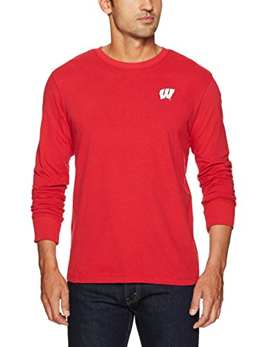 (NCAA Wisconsin Badgers Men's Ots Rival Long sleeve Lccb Distressed Tee, XX-Large, Red)